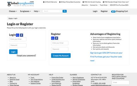 Screenshot of Support Page globaleyeglasses.com - Global Eyeglasses - Login - captured Oct. 27, 2014