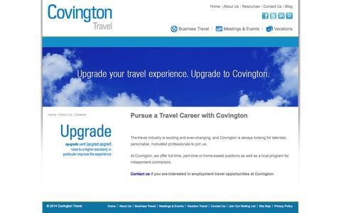 Screenshot of Jobs Page covingtontravel.com - Travel career, travel agents, Richmond, Va, Covington Travel - captured Sept. 30, 2014