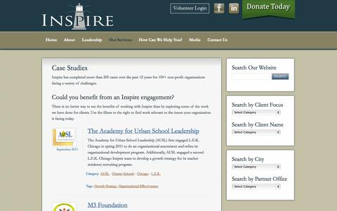 Screenshot of Case Studies Page inspire-inc.org - Case Studies - captured Sept. 30, 2014