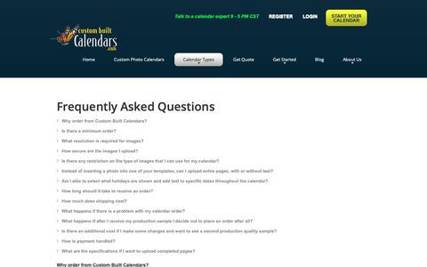 Screenshot of FAQ Page custombuiltcalendars.com - Frequently Asked Questions | Custom Built Calendars - captured Dec. 8, 2018