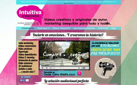 Screenshot of Home Page intuitivaproducciones.com - Intuitiva Producciones - captured Sept. 30, 2014