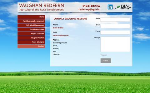 Screenshot of Contact Page vaughanredfern.co.uk - Contact Vaughan Redfern in Brook, Ashford, Kent - captured Dec. 5, 2015