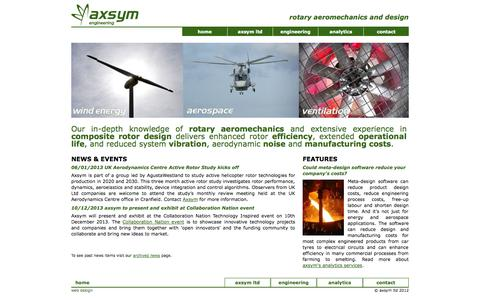 Screenshot of Home Page axsym-engineering.com - axsym limited - engineering consultancy specialists in rotary aeromechanics and design - captured Oct. 1, 2014