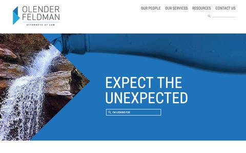 Screenshot of Home Page olenderfeldman.com - Full service representation for middle market companies - captured Oct. 19, 2017