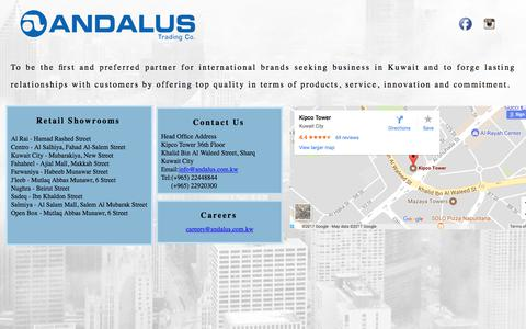 Screenshot of Home Page andalus.com.kw - Andalus Company - captured Oct. 8, 2017
