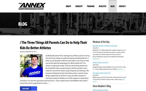 Screenshot of Blog annexsportsperformance.com - Blog   Annex - Sports Performance Center - captured Oct. 4, 2014