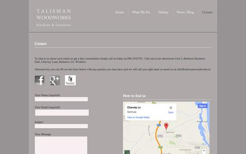 Screenshot of Contact Page talismanwoodworks.ie - Contact us - captured Oct. 9, 2014