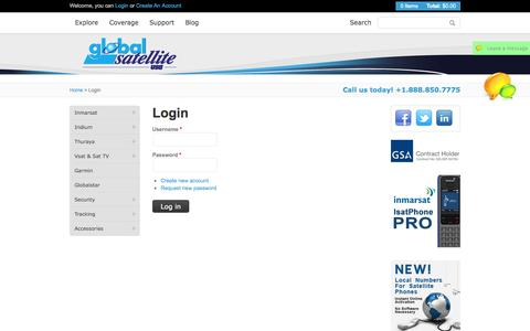 Screenshot of Login Page globalsatellite.us - Phones, wireless communications, global satellite, satellite communications, bgan - captured Oct. 22, 2014