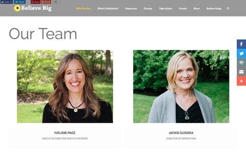 Screenshot of Team Page believebig.org - Our Team | Believe Big - Face It. Fight It. Overcome It. - captured Aug. 1, 2018