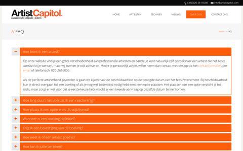 Screenshot of FAQ Page artistcapitol.com - FAQ | Artist Capitol - captured July 30, 2018