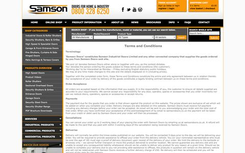Screenshot of Terms Page samsondoors.co.uk - Terms and Conditions available online from Samson Doors UK - captured Oct. 4, 2014