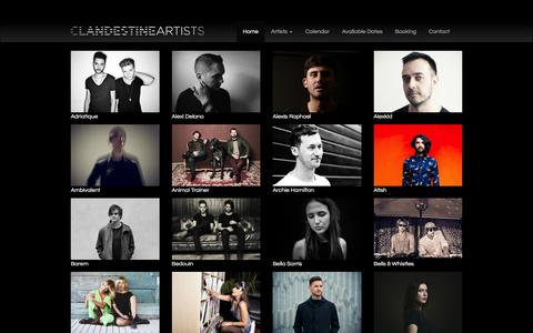 Screenshot of Home Page clandestine-artists.com - Clandestine Artists - captured Dec. 9, 2015