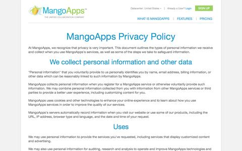 Screenshot of Privacy Page mangoapps.com - Privacy Policy | MangoApps - captured Sept. 22, 2014