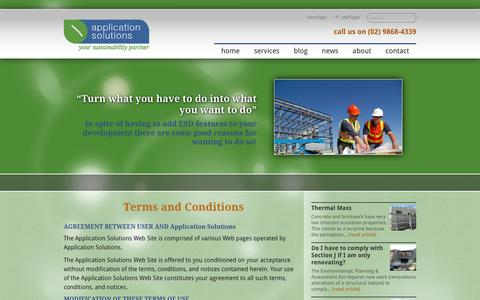 Screenshot of Terms Page applicationsolutions.com.au - Terms and Conditions - Application Solutions - Application Solutions - captured May 30, 2017
