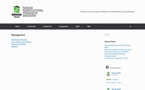 Screenshot of Team Page navajopride.com - Management | Navajo Agricultural Products Industry - captured Feb. 13, 2016