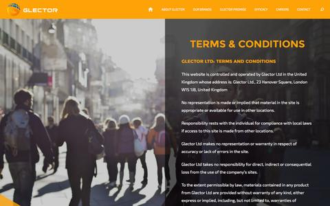 Screenshot of Terms Page glector.com - Glector - captured Dec. 9, 2015