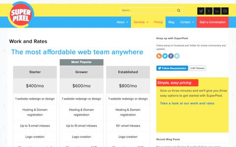 Screenshot of Services Page Pricing Page superpixel.co - Work and rates by SuperPixel for nonprofits and associations - captured Nov. 7, 2018