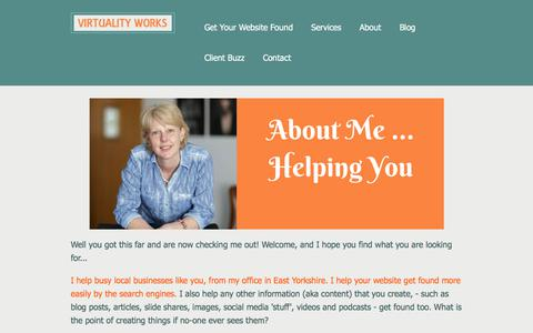 Screenshot of About Page virtualityworks.com - About Susan Weeks | Online Marketing Consultant based in East Yorkshire - captured Sept. 21, 2018
