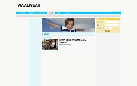 Screenshot of Press Page waalwearkids.com - Waalwearkids.com > Press - captured Oct. 27, 2014