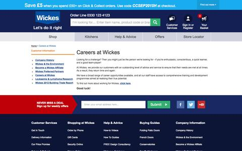 Screenshot of Jobs Page wickes.co.uk - Careers at Wickes - captured Oct. 2, 2015