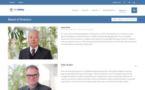 Screenshot of Team Page aimvalley.com - Board of Directors – AimValley - captured July 29, 2018