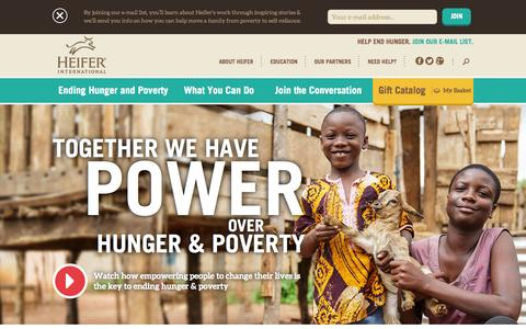 Screenshot of Home Page heifer.org - Heifer International | Charity Ending Hunger And Poverty - captured Oct. 23, 2015