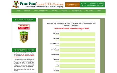 Screenshot of Contact Page peacefrogcarpetcleaning.com - Request a Free Quote for Carpet Cleaning, Spot Free Carpet Cleaning TX - captured Nov. 1, 2014