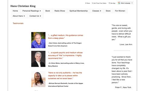Screenshot of Testimonials Page hansking.com - Internationally Acclaimed Psychic Medium.  Appointment line 1-800-406-9027 - Testimonials - captured Sept. 27, 2018