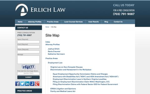 Screenshot of Site Map Page erlichlawoffice.com - Site Map :: Arlington Employment Litigation Attorney The Erlich Law Office - captured Oct. 22, 2017