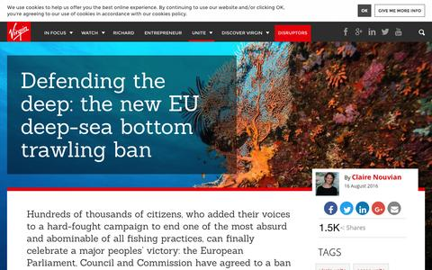 Screenshot of virgin.com - Defending the deep: the new EU deep-sea bottom trawling ban   Virgin - captured Aug. 25, 2016