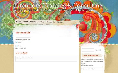 Screenshot of Testimonials Page wordpress.com - Testimonials | Intentions Training & Consulting - captured Sept. 12, 2014