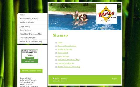 Screenshot of Site Map Page bambuhostel.com - Home - Bambu Hostel David, Panama - captured Oct. 5, 2014