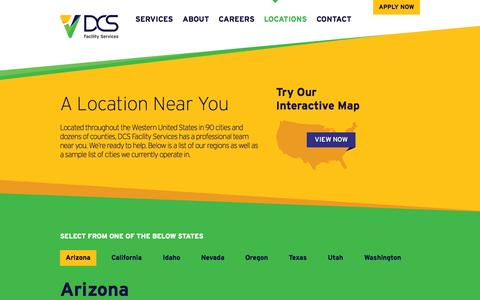 Screenshot of Locations Page dcsfacilityservices.com - DCS Facility Services: Locations - captured Sept. 30, 2014