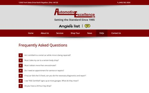 Screenshot of FAQ Page autoexinc.com - FAQs Automotive Excellence Inc. – Body Shop and Auto Service in North Royalton, Ohio - captured Oct. 4, 2018