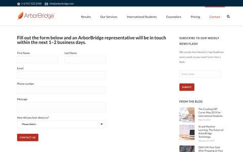 Screenshot of Contact Page arborbridge.com - ArborBridge: Contact - captured Aug. 20, 2019