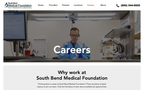 Screenshot of Jobs Page sbmf.org - Careers | South Bend Medical Foundation - captured Oct. 20, 2018