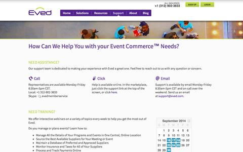 Screenshot of Support Page eved.com - How Can We Help You with your Event Commerce™ Needs? - captured Sept. 16, 2014