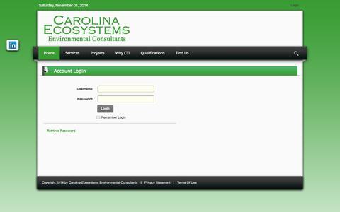 Screenshot of Login Page carolinaeco.com - User Log In - captured Nov. 1, 2014