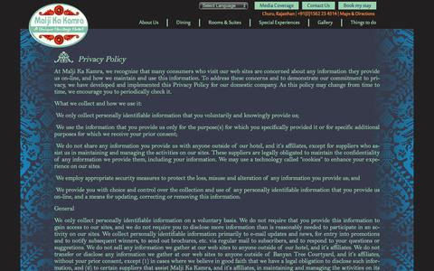 Screenshot of Privacy Page maljikakamra.com - Privacy Policy | Malji Ka Kamra - captured Jan. 23, 2016