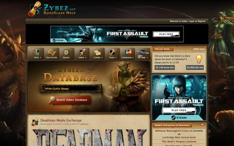 Screenshot of Home Page zybez.net - Zybez - Runescape Help, guides, items, quests, and forums! - captured Aug. 22, 2016