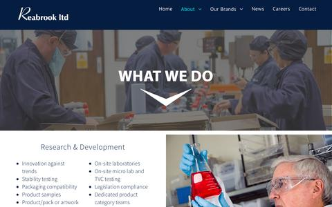 Screenshot of Support Page reabrook.co.uk - What We Do – Reabrook Limited   Chemical Manufacturing - captured Oct. 19, 2018