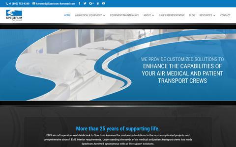 Screenshot of Home Page spectrum-aeromed.com - Spectrum Aeromed | Air Medical Equipment and Maintenance - captured April 12, 2018
