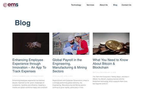 Screenshot of Blog global-ems.com - Global Payroll, Expense Management & Global Mobility Blog - Global EMS - captured Dec. 6, 2018