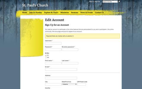 Screenshot of Signup Page stpaulsfindlay.org - Edit Account | St. Paul's Church - captured Feb. 16, 2016