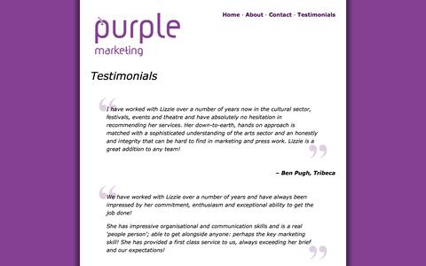Screenshot of Testimonials Page purple-marketing.co.uk - Testimonials   Purple Marketing - captured Sept. 30, 2014