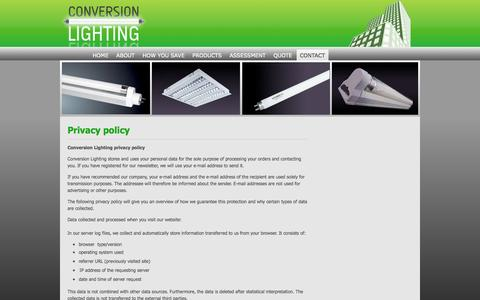Screenshot of Privacy Page conversionlighting.com - Privacy Policy: Conversion Lighting | Energy saving lights, Fluorescent lights, Energy saving bulbs, Energy efficient fluorescent lights - captured Sept. 30, 2014