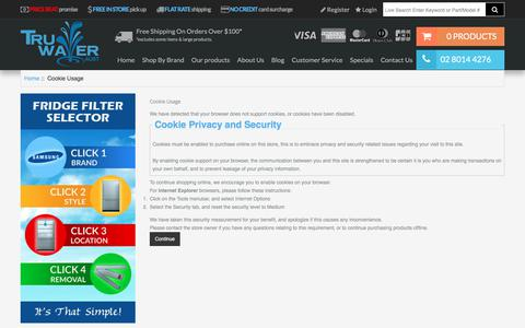 Screenshot of Login Page truwater.com.au - Cookie Usage : Best House Water Filter Systems – Tru Water (Aust) - Get cleaner & healthier household water supply by ordering home water filters from Tru Water (Aust). Check out our range of water filter systems today. - captured Nov. 14, 2017