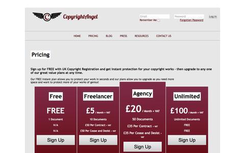Screenshot of Pricing Page copyrightangel.co.uk - Pricing | Copyright Angels - captured Oct. 3, 2014