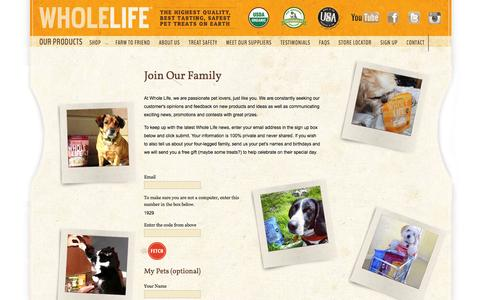 Screenshot of Signup Page wholelifepet.com - Whole Life Pet Products - captured Oct. 26, 2014