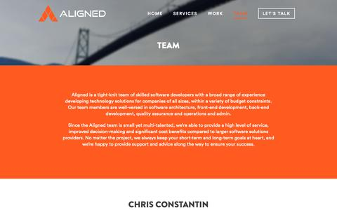 Screenshot of Team Page aligned.software - Team - Aligned Software Solutions Inc. - captured Oct. 3, 2018
